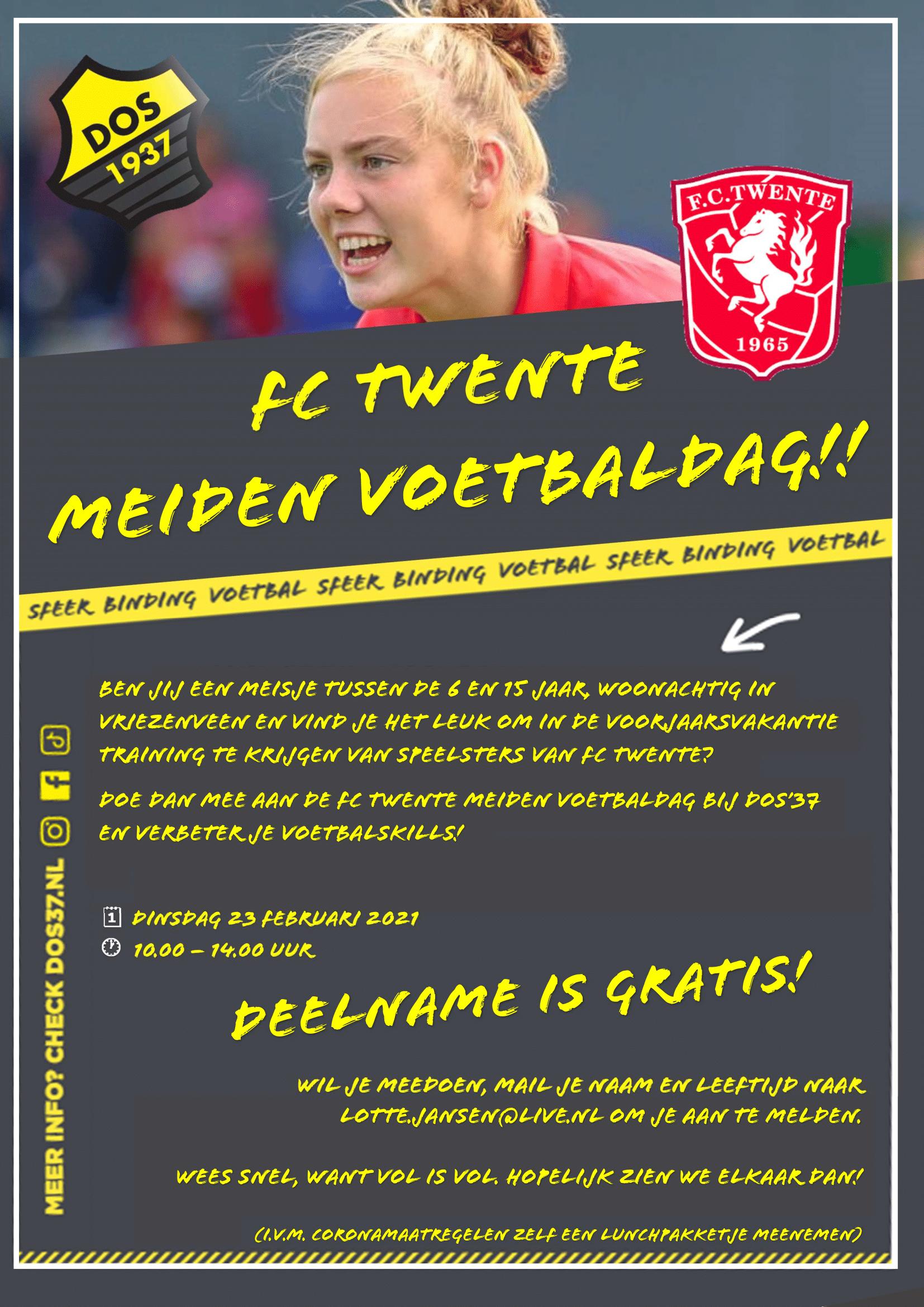 FC Twente Meiden voetbaldag bij DOS'37
