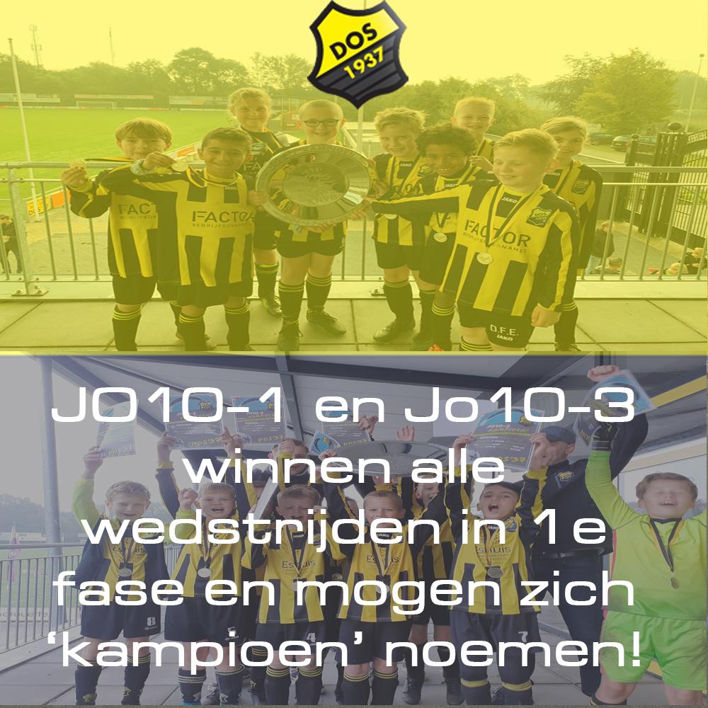 JO10-1 en JO10-3 winnen alle wedstrijden in 1e fase en mogen zich 'kampioen' noemen!